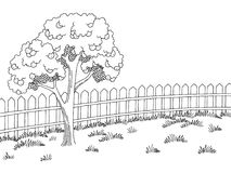 Garden graphic black white landscape apple tree sketch illustration vector. Garden graphic black white landscape apple tree sketch illustration Royalty Free Stock Images