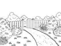 Garden graphic black white landscape sketch illustration Stock Photos