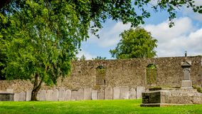 Garden of the Graveyard Abbey in the village of Athlone with ornate headstones on the wall in the background. Wonderful sunny spring day  in the county of royalty free stock photography