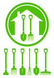 Garden green icon with tools Royalty Free Stock Image