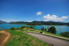 Garden and green lake. This picture took from view point of the dam.this dam is in south of thailand Stock Image