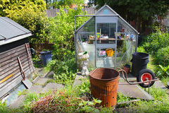 Garden greenhouse and shed Royalty Free Stock Photo