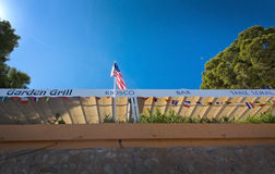Garden grill and bar with American flag Royalty Free Stock Photo