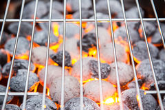Garden grill with blistering briquettes. Stock Images