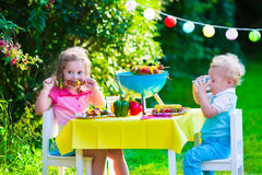 Garden grill party for kids. Children grilling meat. Family camping and enjoying BBQ. Brother and sister at barbecue preparing steaks and sausages. Kids eating Stock Photo