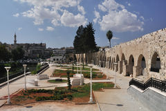 Garden in Hama. This is small garden round aqueduct in Hama, in Syria Royalty Free Stock Image