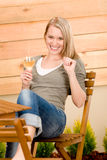 Garden happy woman enjoy glass wine terrace. Garden happy woman enjoy glass wine on terrace Royalty Free Stock Images