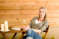 Garden happy woman enjoy glass wine terrace. Garden happy woman enjoy glass wine sitting on terrace Stock Photos