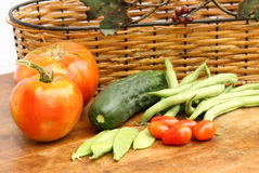 Garden Vegetables. A days harvest of vegetables from the garden stock images