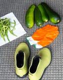 Garden Harvest. Fresh zucchini and green beans from my garden Stock Photos