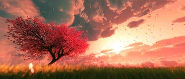 Garden of heaven. Background of sakura tree flower at sunrise or sunset sky,3d rendering royalty free illustration