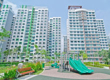 Garden within high-rise residential estate Stock Photography