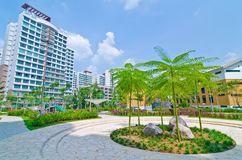 Garden within high-rise residential estate. Typical landscaped and green area of high-rise residential estate in Singapore. Comes complete with a playground for Royalty Free Stock Photos