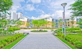 Garden within high-rise residential estate Stock Photos