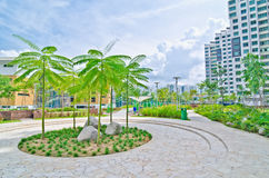 Garden within high-rise residential estate Stock Image