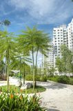 Garden within high-rise residential estate Royalty Free Stock Images