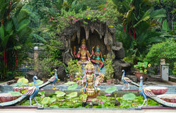 The garden at Hindu temple in Kuala Lumpur, Malaysia Royalty Free Stock Photos
