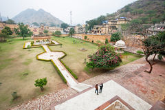 Garden of the historical indian Amber Fort Stock Photography