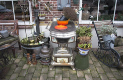 Garden in holland with old tools. And equipment royalty free stock photo