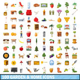 100 garden and home  icons set, cartoon style Royalty Free Stock Images