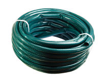 Garden Hose. Bay twisted garden hose isolated on a white background stock photos