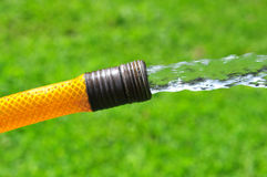 Garden Hose. Water flowing from a yellow garden hose stock image