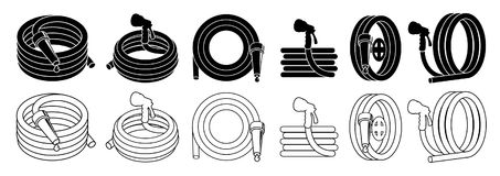 Garden hose or fire hose set, isolated on white vector icon. Stock Photo