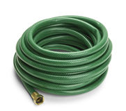 Garden Hose. Green Garden Hose Rolled Up Isolated on a White Background Royalty Free Stock Images