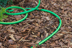 Garden hose on ground covered by natural bark. Gardening background stock image