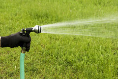 Garden hose spray Stock Photography