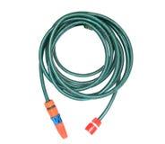 Garden hose on white. Green garden hose on white with sprinkler Stock Images