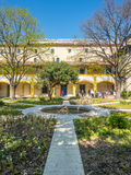 Garden of Hospital in Arles, France. ARLES, FRANCE - APRIL 12 : Garden of Asylum hospital, inspiration place for painting arts of Van Gogh `Garden of Hospital in stock photography