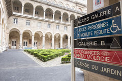 Garden of the Hospital Hotel-Dieu in Paris Stock Photography
