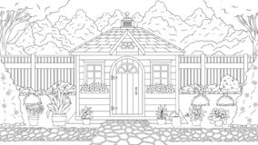 Garden house coloring stock illustration