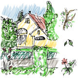Garden House Sketch Royalty Free Stock Photography
