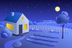 Garden house summer landscape night illustration Stock Photos
