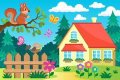 Garden and house theme background 2 Vector Illustration