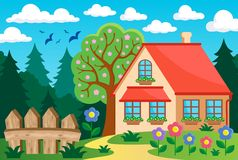 Garden and house theme background 3 Royalty Free Stock Images