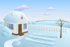 Garden house winter landscape day illustration Royalty Free Stock Photography