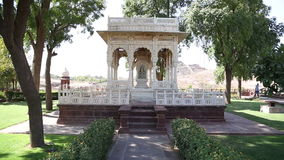 Garden houses in garden of Jaswant Thada temple in Jodhpur. stock footage