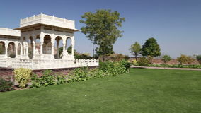 Garden houses in garden of Jaswant Thada temple in Jodhpur. stock video footage