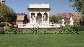Garden houses by Jaswant Thada temple in Jodhpur. stock video footage