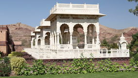 Garden houses by Jaswant Thada temple in Jodhpur. stock footage