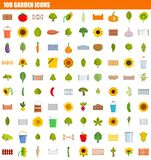 100 garden icon set, flat style. 100 garden icon set. Flat set of 100 garden icons for web design stock illustration