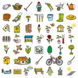 Garden icon tool set color Royalty Free Stock Images