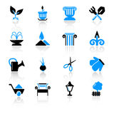 Garden icons. Set of 16 garden icons on white background Stock Photo