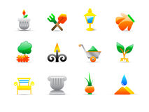 Garden icons Stock Photography