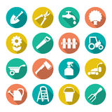 Garden icons in flat style Stock Image