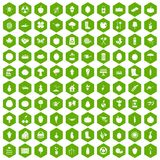 100 garden icons hexagon green. 100 garden icons set in green hexagon isolated vector illustration Royalty Free Illustration