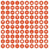 100 garden icons hexagon orange. 100 garden icons set in orange hexagon isolated vector illustration royalty free illustration
